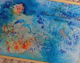 Happy New Year (Hau'oli Makahiki Hou) ocean-themed Hawaiian card with dolphins v.1