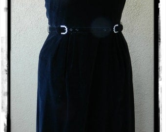 Free Shipping, Vintage 1950's Halter Wiggle Dress, Black Velvet, Medium, Betty Barclay