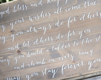 May you stay forever young - cursive - wooden sign