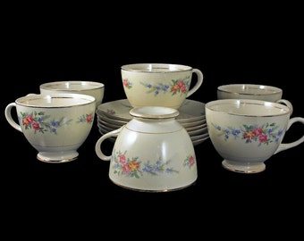 Cups and Saucers, Eggshell Nautilus, Homer Laughlin, Ferndale Pattern, Set of 6, 22K Gold Trim, Floral Pattern