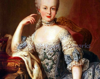 """Martin Van Meytens """"Marie Antoinette at Age 13"""" 1767  Reproduction Digital Print Monarchy Queen of France prior to French Revolution"""