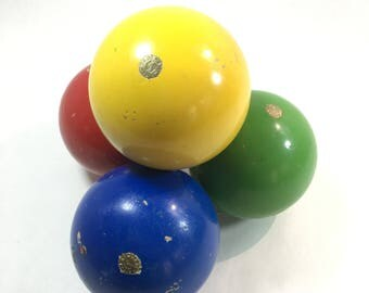 Bocce Balls Made in Italy Brass Insignia Colorful Decor or Replacement Lawn Games Vintage 70's