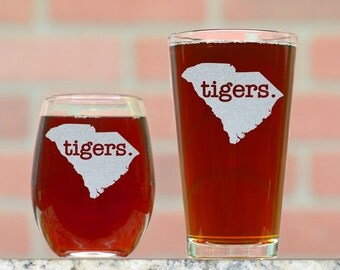 His and Hers Wine and Pint Glasses. Any School Available. Any Mascot or Custom Phrase. Custom Wine and Beer Glasses. His and Hers Gifts.