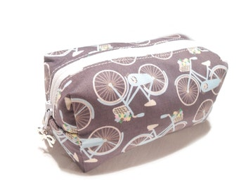 Bike Cosmetic Bag, Boxy Pencil Case, Bicycle Make-Up Bag, Coin Purse, Pouch