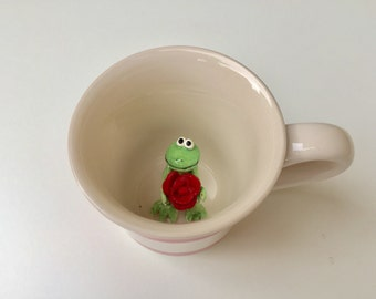 Surprise animal mug, Frog with rose in coffee mug, unique gift idea, love mug, coffee mugs with animals inside