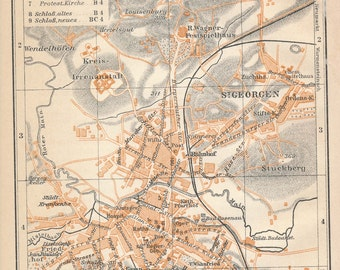 1910 Bayreuth Germany Antique Map