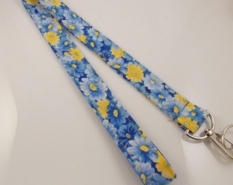 SALE! Flower Lanyard Garden Lanyard Teacher Lanyard Work Lanyard Nurse Lanyard Blue Yellow Lanyard Fabric Lanyard Floral Necklace