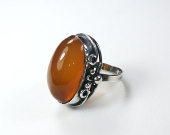 Vintage Silver Amber Ring Large Amber Silver Ring Hallmarked Poland Amber 800 Silver Ring Handmade Ring Boho Statement Size 7.75