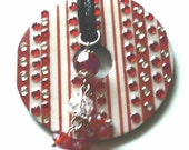 Lots of Bling on this red & white washer necklace