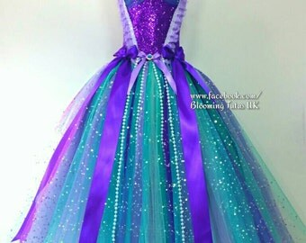 Little Mermaid Ariel Inspired Teal and Pearls Super Sparkly Tutu Dress-Birthday, Party, Pageant, Fancy Dress, Princess