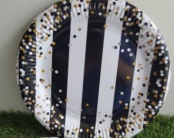 Striped Confetti Paper Plates 23cm 8pcs - Black, White & Gold