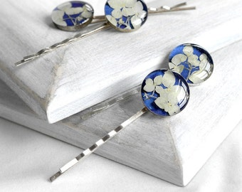 Hair jewelry gift Royal blue hair pins for teen Flowers barrettes for girl Hair clips for her Romantic accessories geometric hair clip