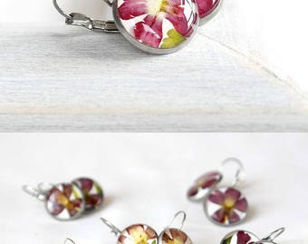 Floral jewelry present Ruby jewelry for girlfriend Red flower earrings for girlfriend Bright red jewelry Deep red jewelry Garnet earrings