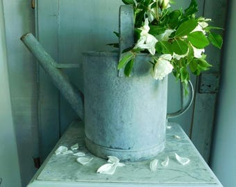 Beautiful French antique zinc watering can,  rustic galvanized primitive watering can, French country decor