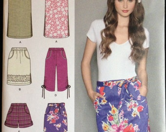 Simplicity 2258 - Easy to Sew Straight, Pull On Skirts, Shorts, and Capris - Size 6 8 10 12 14