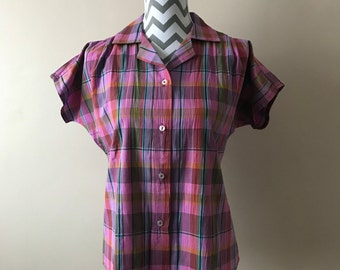 vintage pink check short-sleeve blouse