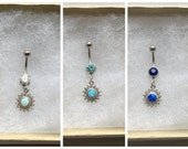Opal Sun Belly Button Ring. Silver Belly Ring. P1.