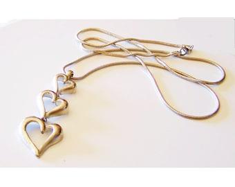 Long Silver Necklace - Graduated Pendant / SALE / Hearts - Cascading Graduated Heart Pendant - EXTRA Long - D