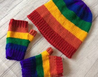Hat and mitt set. Rainbow colours. Size birth-Adult. Pride Set. Unique Gift idea. Rainbow baby photo prop set birth announcement. Colourful.