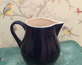 Cobalt Blue Hall China Co. Pitcher #1247, Heavy Hall Blue Pitcher, Hall Pottery Water Pitcher