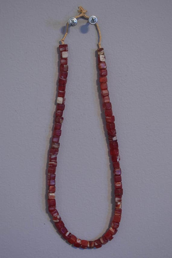 Beads African Red Square Kakamba Marbelized Glass Beads Handmade Red White Cubes Dice African Glass Jewelry Beads