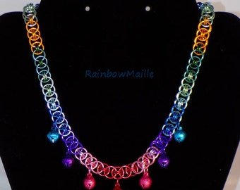 Rainbow helms chain chainmaille choker with bells by RainbowMaille