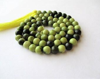 "Green Serpentine Beads, Natural Serpentine, green and black serpentine, round beads, 14 1/2"" strand, 5mm, center drilled"