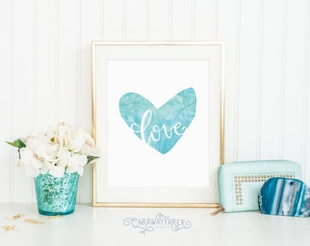 Heart Art Printable Wall Art Print Teal Valentines Day art Watercolor Love Wall Art Minimalist Decor Love Watercolor Heart Instant Download