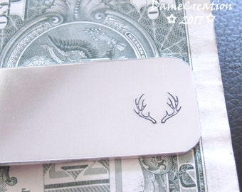 Hunting Anniversary Gift for Men, Hunting Groomsman Gift, Personalized Money Clip Wallet, Aluminum Anniversary Gift