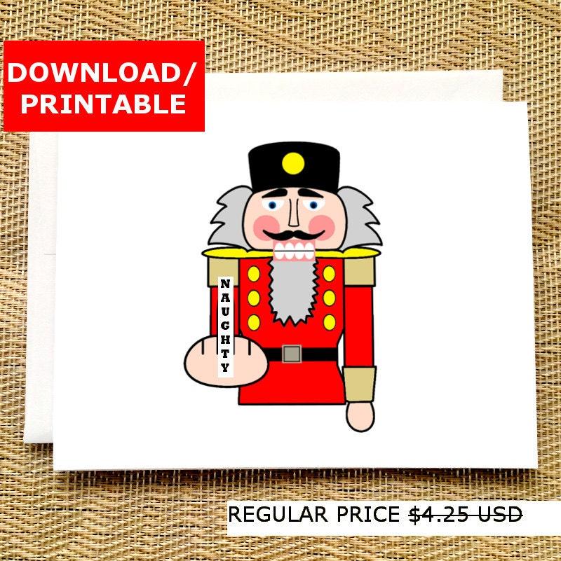 funny digital christmas card print nutcracker middle finger rude