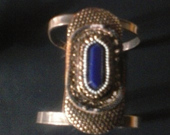 Cuff, decorated, beads, blue faux gemstone, silver hammered,very chic adjustable, Free Shipping