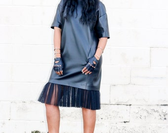 Leather Shirtdress w.Tulle Hem