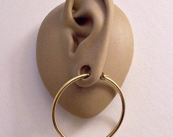 Monet Thin Tube Ring Hoops Pierced Post Stud Earrings Gold Tone Vintage Large Round Open Smooth Polished