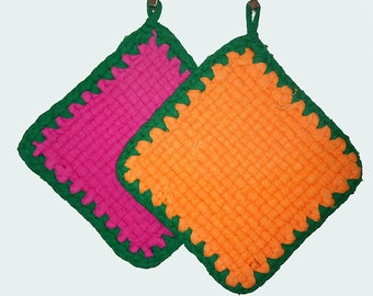 rag woven and crochet potholders