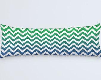 Chevron Body Pillow, Green Long Pillow, Pillow 20x54, Large Bed Pillow, Blue Cushion Cover, Zig Zag Decorative Pillow, Blue Green Chevron