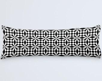 Geometric Body Pillow White Black Pillow Body Pillow Cover Black Pillow Case