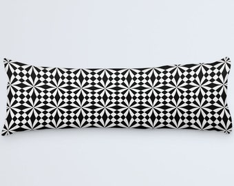 Geometric Body Pillow, White Black Pillow, Body Pillow Cover, Black Pillow Case, Patterned Cushion, Modern Large Pillow, 20x54 Body Pillow