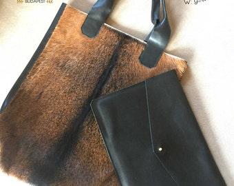 Leather Tote bag, Fur Bag, Black and Brown Handmade Leather Bag, Tote Bag, Women Leather Bag, Shoulder bag, BLACK FRIDAY PRICE!