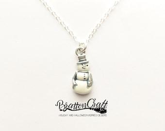 White Snowman Necklace - Silver Snowman Jewelry - Christmas Necklace - Christmas Jewelry - Holiday Jewelry - Holiday Necklace