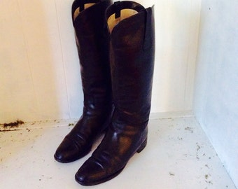 "Black Leather Riding Boots Vintage 1990's  "" On 5'Th "" Leather Black Boots Size 8 Riding Style Boots Italian Boots"