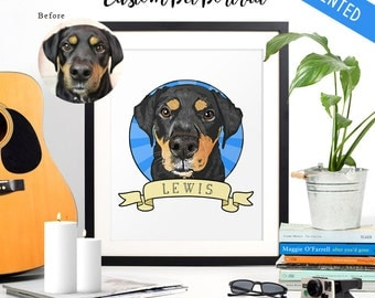 Custom PRINTED Pet Portrait  // Hand Drawn Illustration Memorial //  Circle & Rays with Banner #122016PPP