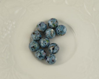 Mother of Pearl With Resin, Mother of Pearl Beads, MOP Beads, Blue Beads, 10pcs