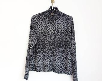vintage 90s pleated long sleeve leopard print shirt