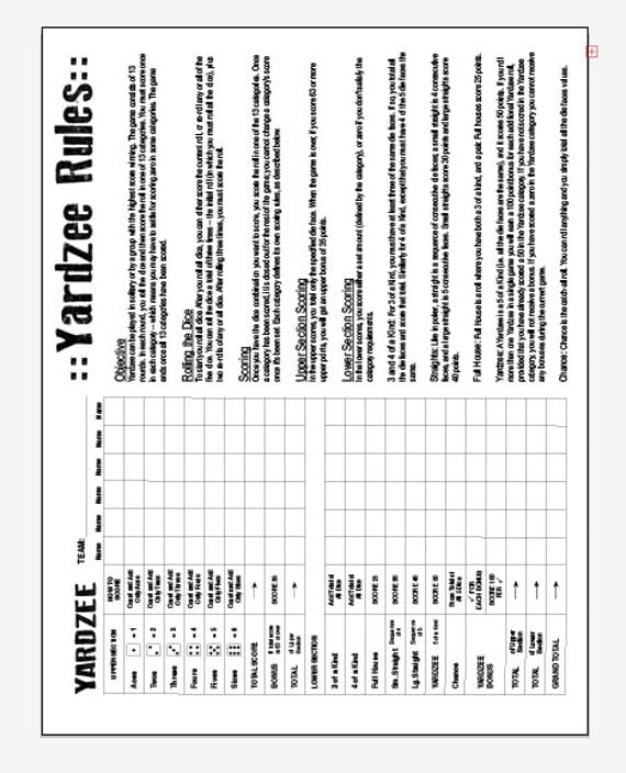 pdf 85x11 yardzee and yardzee rules one page