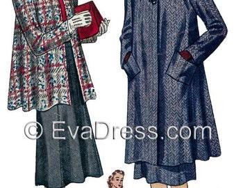 1939 Skirt & Swagger Coat Ensemble EvaDress Pattern!