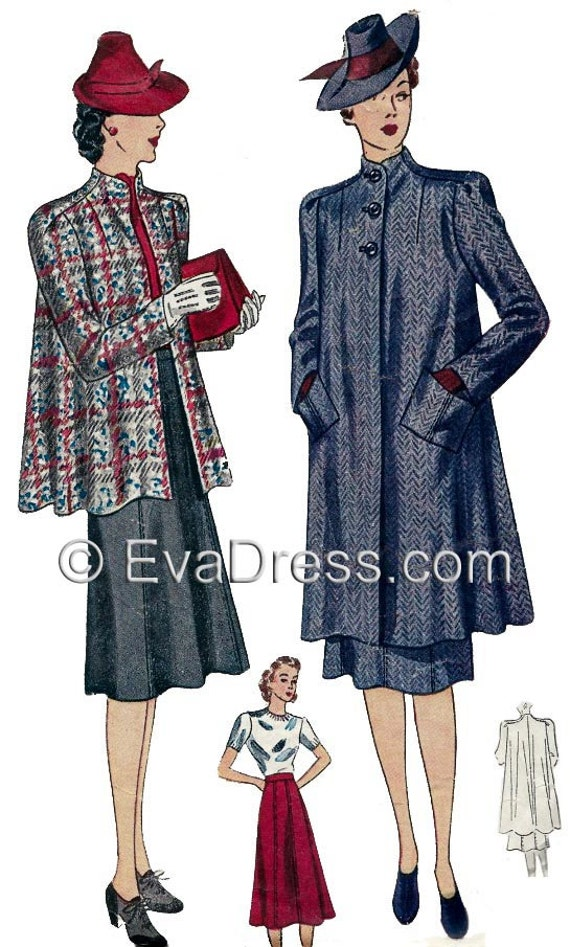 1940s Sewing Patterns – Dresses, Overalls, Lingerie etc 1939 Skirt & Swagger Coat Ensemble EvaDress Pattern!1939 Skirt & Swagger Coat Ensemble EvaDress Pattern! $20.00 AT vintagedancer.com