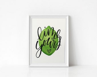 Lime yours <3 | 5x7  | Watercolor and embossed