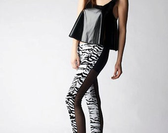 One of A Kind Sequins Zebra Leggings With Black Lace Back Panels Black White Tiger Size S