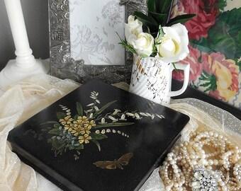 Antique papier mache box. Hand-painted. Victorian