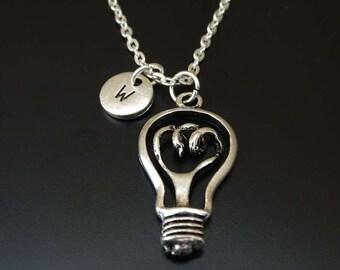 Light Bulb Necklace, Light Bulb Charm, Light Bulb Pendant, Light Bulb Jewelry, Science Necklace, Science Jewelry,Science Teacher,Electrician